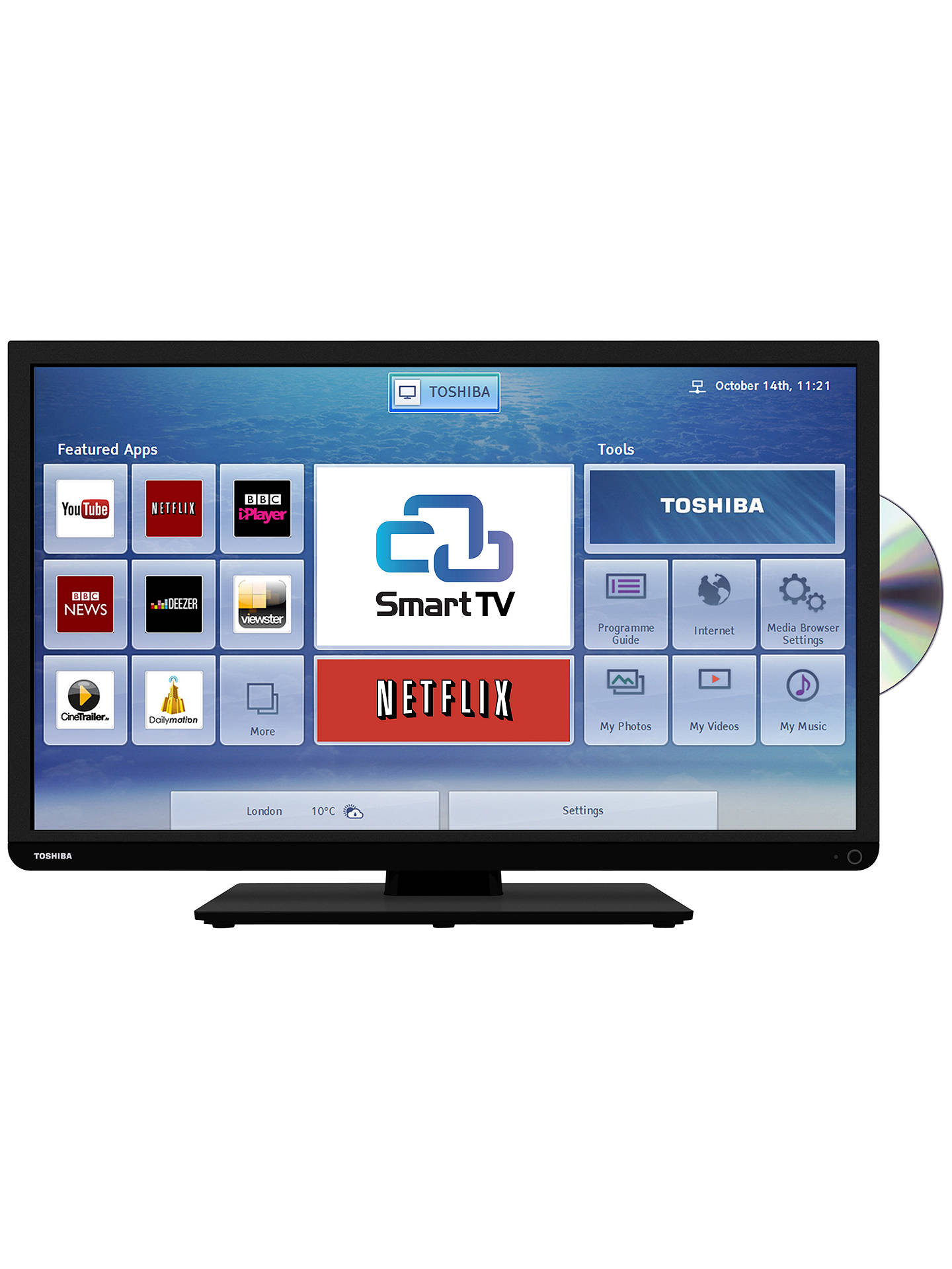 Toshiba 32D3453DB LED HD Ready Smart TV/DVD Combi, Wi-Fi, 32\