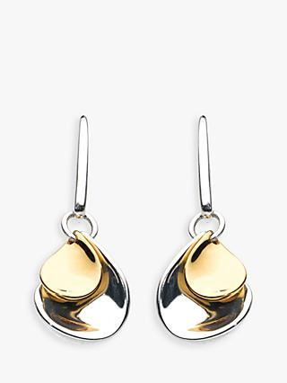 Kit Heath Double Petal Sterling Silver 18ct Gold Plated Drop Earrings
