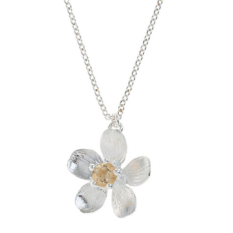 Buy Alex Monroe Sterling Silver Citrine Buttercup Necklace, Silver Online at johnlewis.com