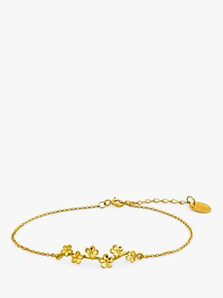 Alex Monroe 22ct Gold Plated Forget Me Not Drift Bracelet