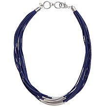 Buy John Lewis Multi Row Cord Necklace, Silver/Navy Online at johnlewis.com