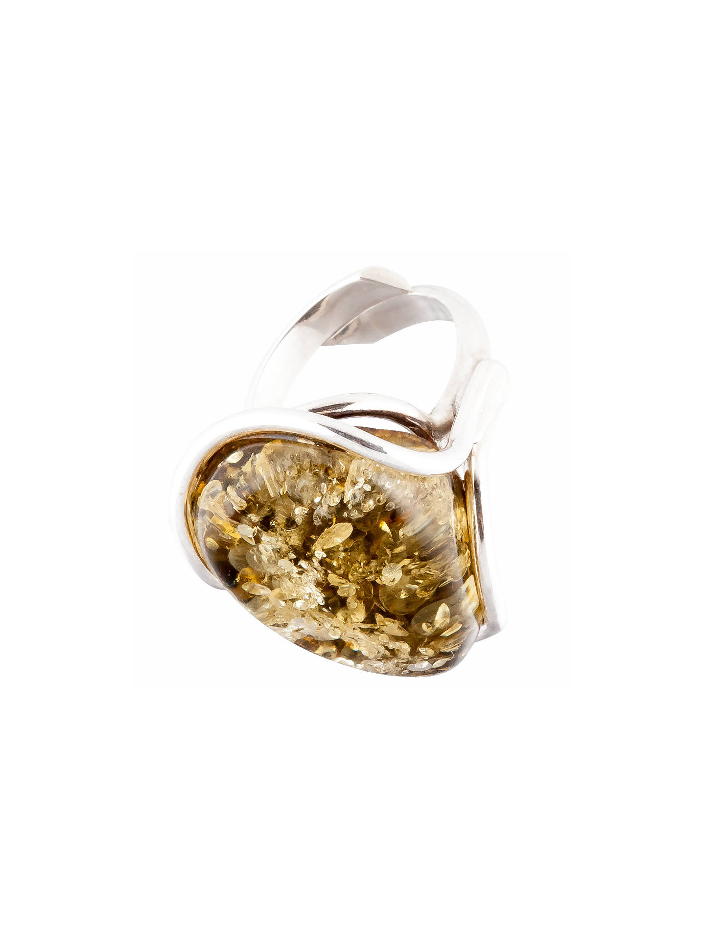 BuyBe-Jewelled Sterling Silver Green Amber Ring Online at johnlewis.com