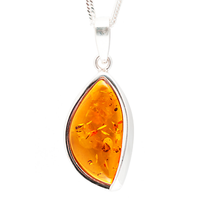BeJewelled Sterling Silver Marquise Cognac Amber Pendant Necklace