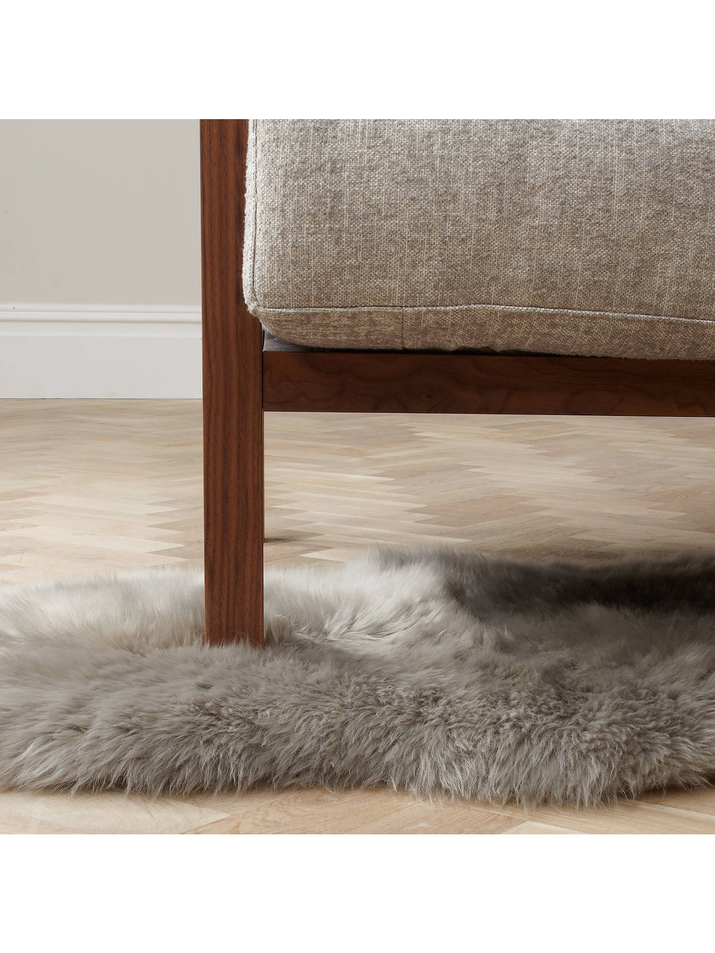 John Lewis Partners Single Sheepskin Rug Grey