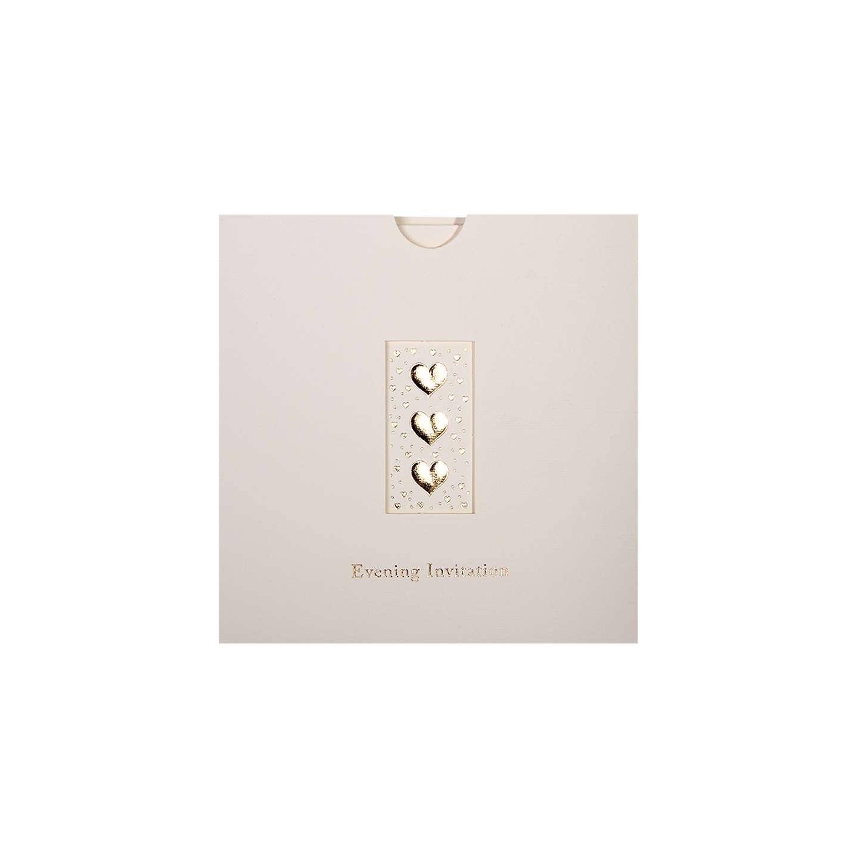 CCA Three Hearts Personalised Wedding Evening Invitations, Pack of ...