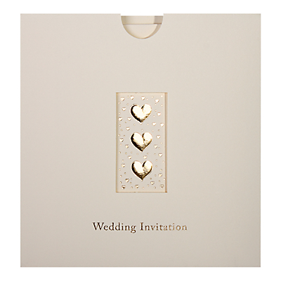 Image of CCA Three Hearts Personalised Wedding Invitations, Pack of 60, Gold