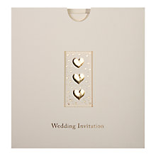 Buy CCA Three Hearts Personalised Wedding Invitations, Pack of 60, Gold Online at johnlewis.com