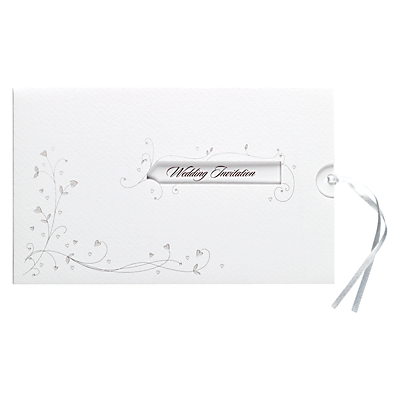 Image of CCA Entwined Hearts Personalised Wedding Evening Invitations, Pack of 60, White
