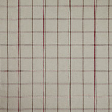 Buy John Lewis Parton Twill Fabric, Natural/Cranberry Check, Price Band D Online at johnlewis.com