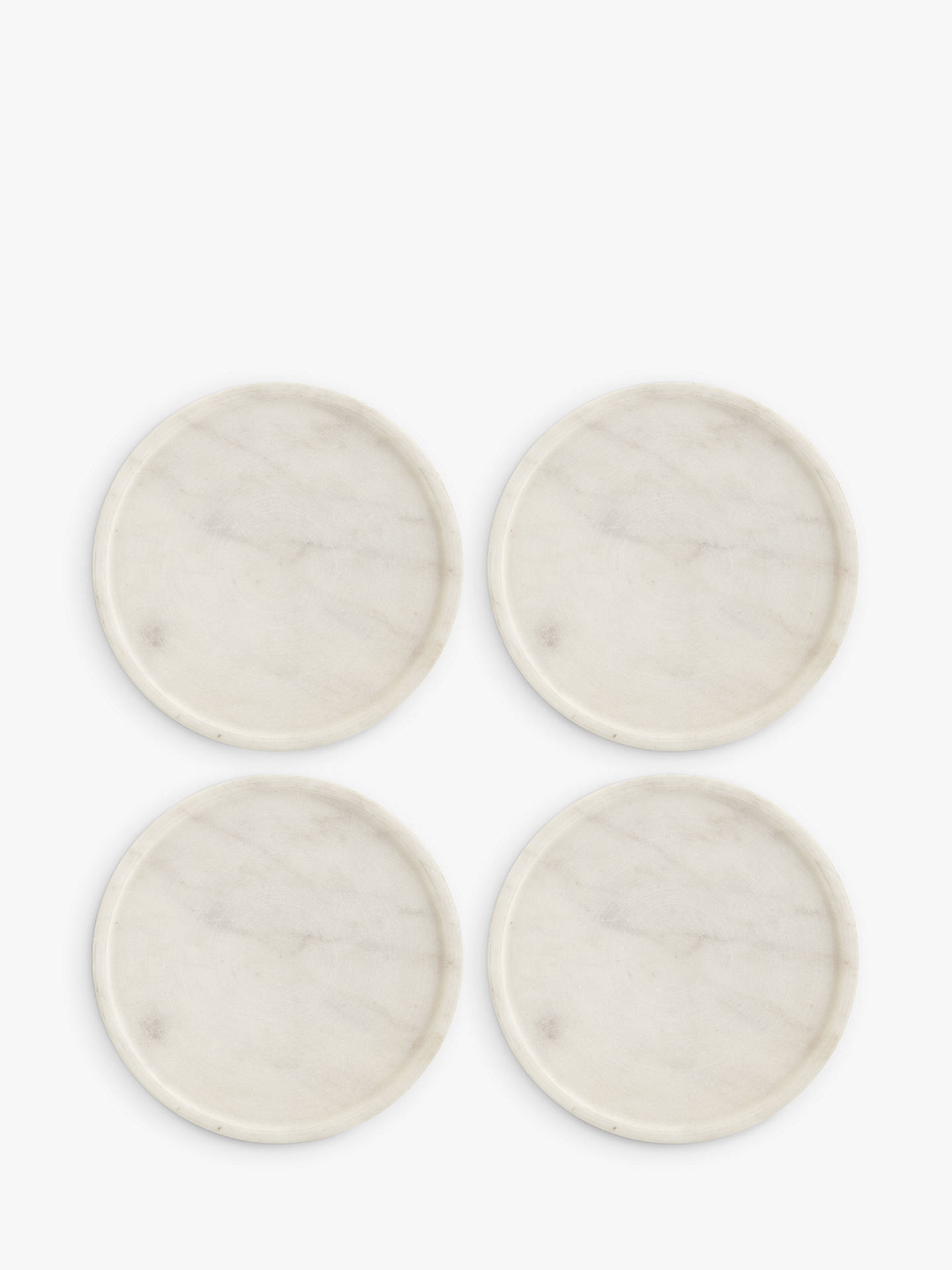 Buy John Lewis & Partners Round Marble Coasters, Set of 4, White Online at johnlewis.com