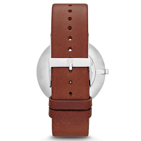 Buy Skagen SKW6082 Men's Klassik Leather Strap Watch, Brown/White Online at johnlewis.com