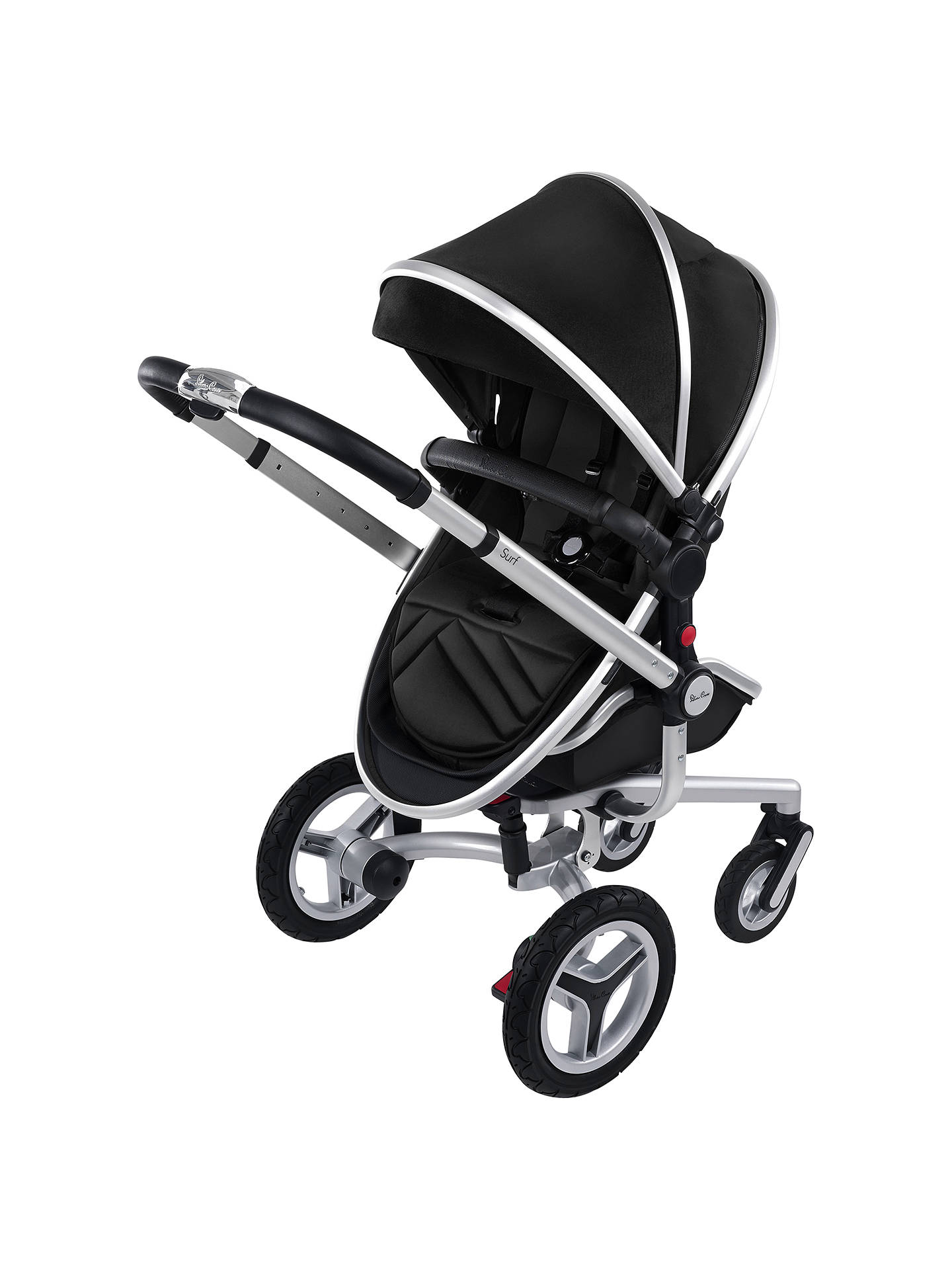 Silver Cross Surf2 Pram Chassis Seat And Carrycot Black