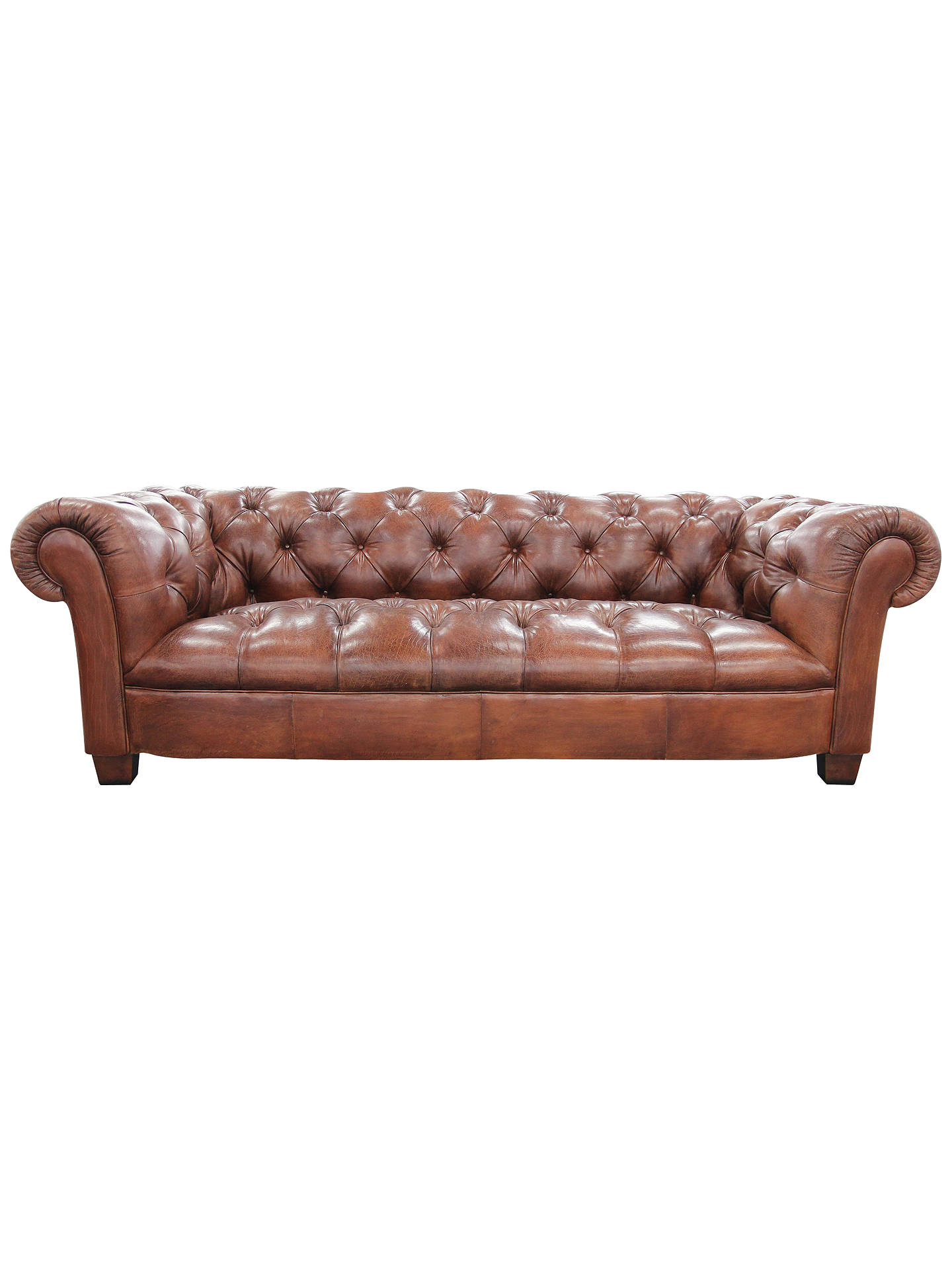 BuyJohn Lewis Todd Grand Leather Chesterfield Sofa, Tan Online At  Johnlewis.com ...