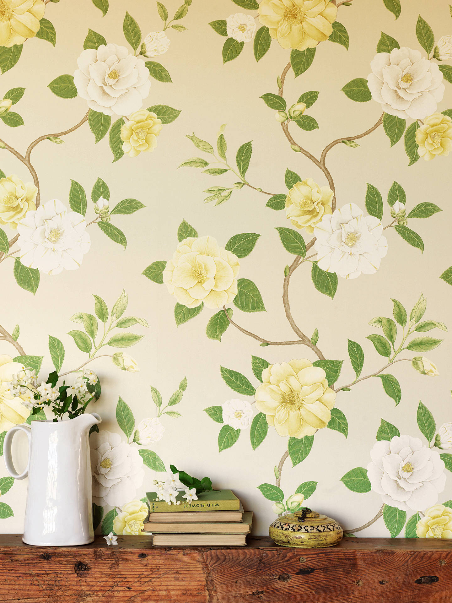 Buy Sanderson Christabel Wallpaper, Yellow/Ivory, DVOY213377 Online at johnlewis.com