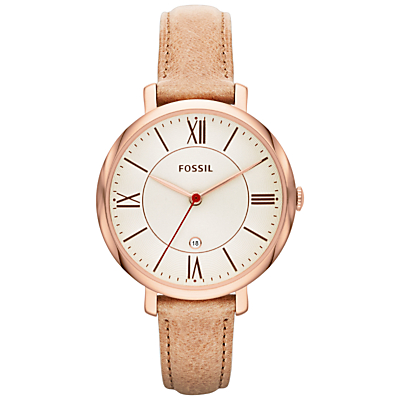 Fossil ES3487 Women's Jacqueline Three-Hand Leather Strap Watch, Sand/Cream