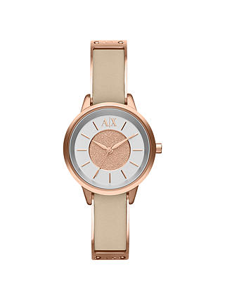 Buy Armani Exchange AX5353 Women's Leather Strap Watch, Nude/White Online at johnlewis.com