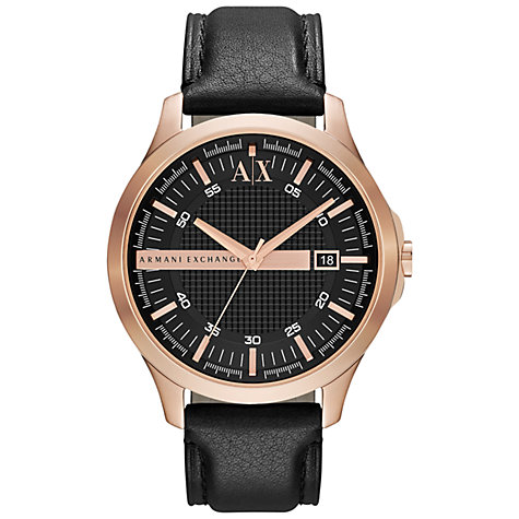 armani exchange men s watches john lewis buy armani exchange ax2129 men s date rose gold plated leather strap watch black online at