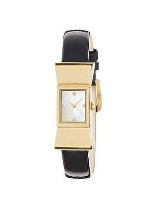 Buy kate spade new york 1YRU0068 Women's Carlyle Leather Strap Rectangular Watch, Black Online at johnlewis.com