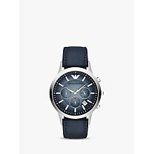 Buy Emporio Armani AR2473 Men's Chronograph Degrade Dial Leather Strap Watch, Blue Online at johnlewis.com
