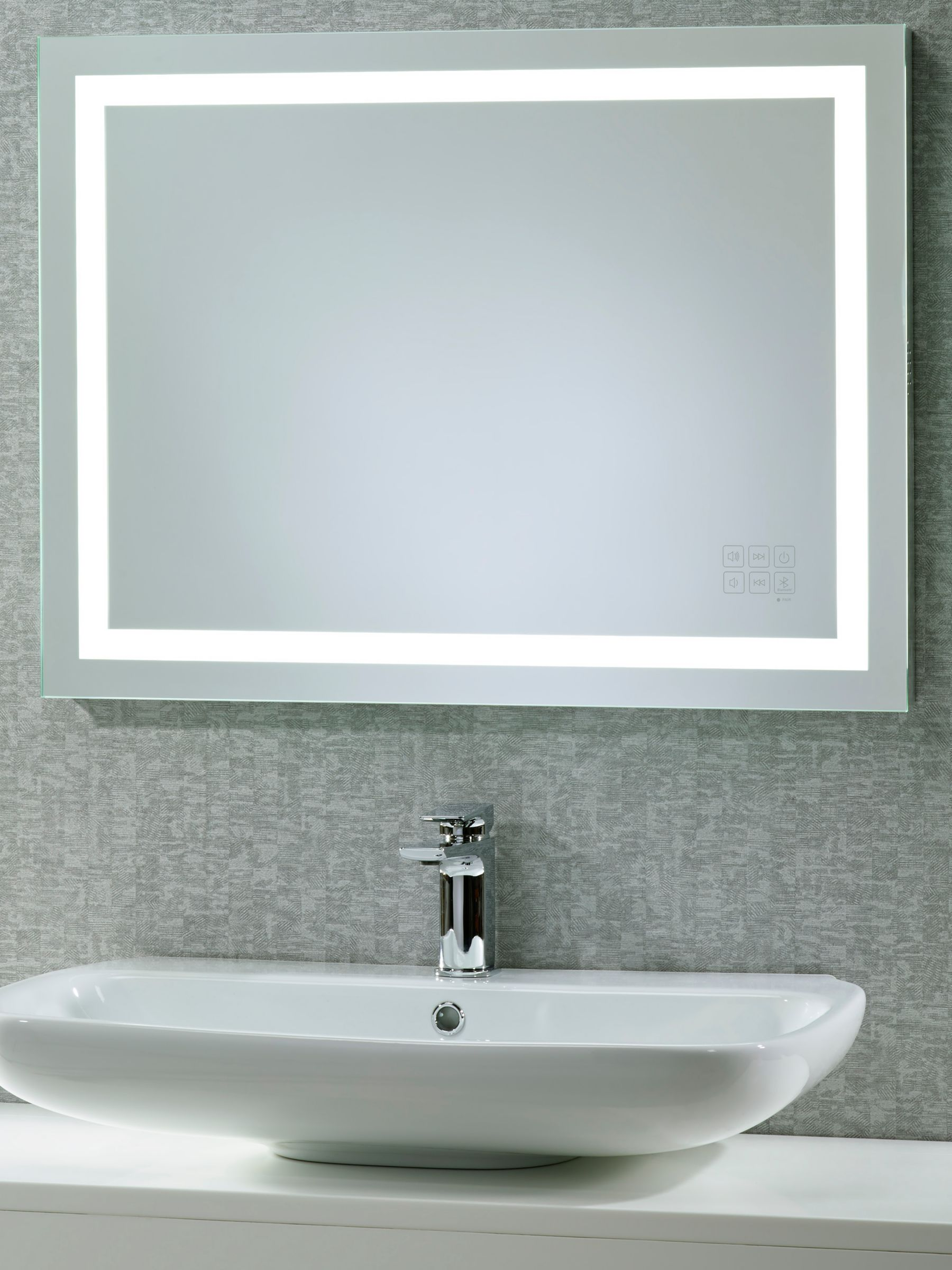 vanity led dimmer frame bathroom mirror mirrors w wall glass glashaus mount lighted inch shelf x products