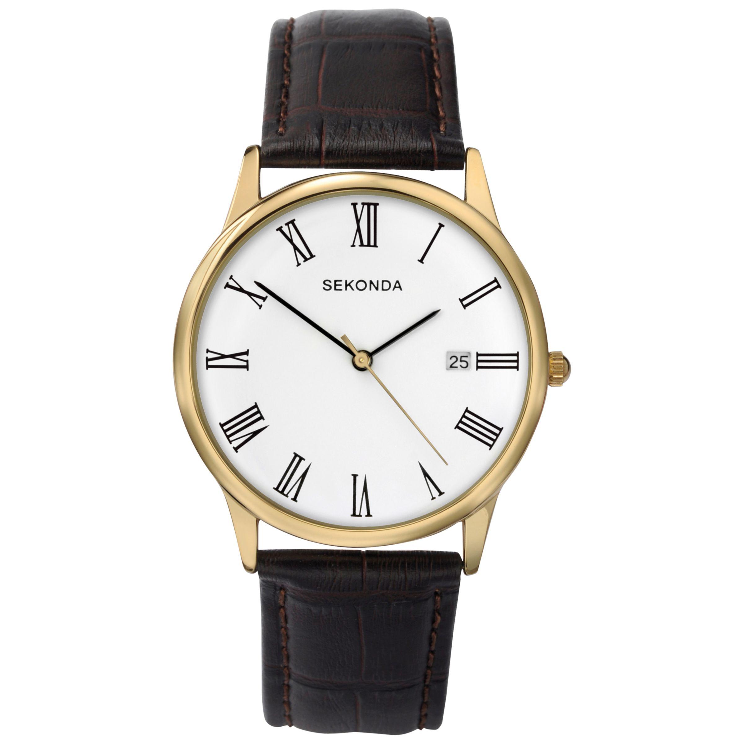 Sekonda Sekonda 3676.27 Men's Date Dial Leather Strap Watch, Brown/White