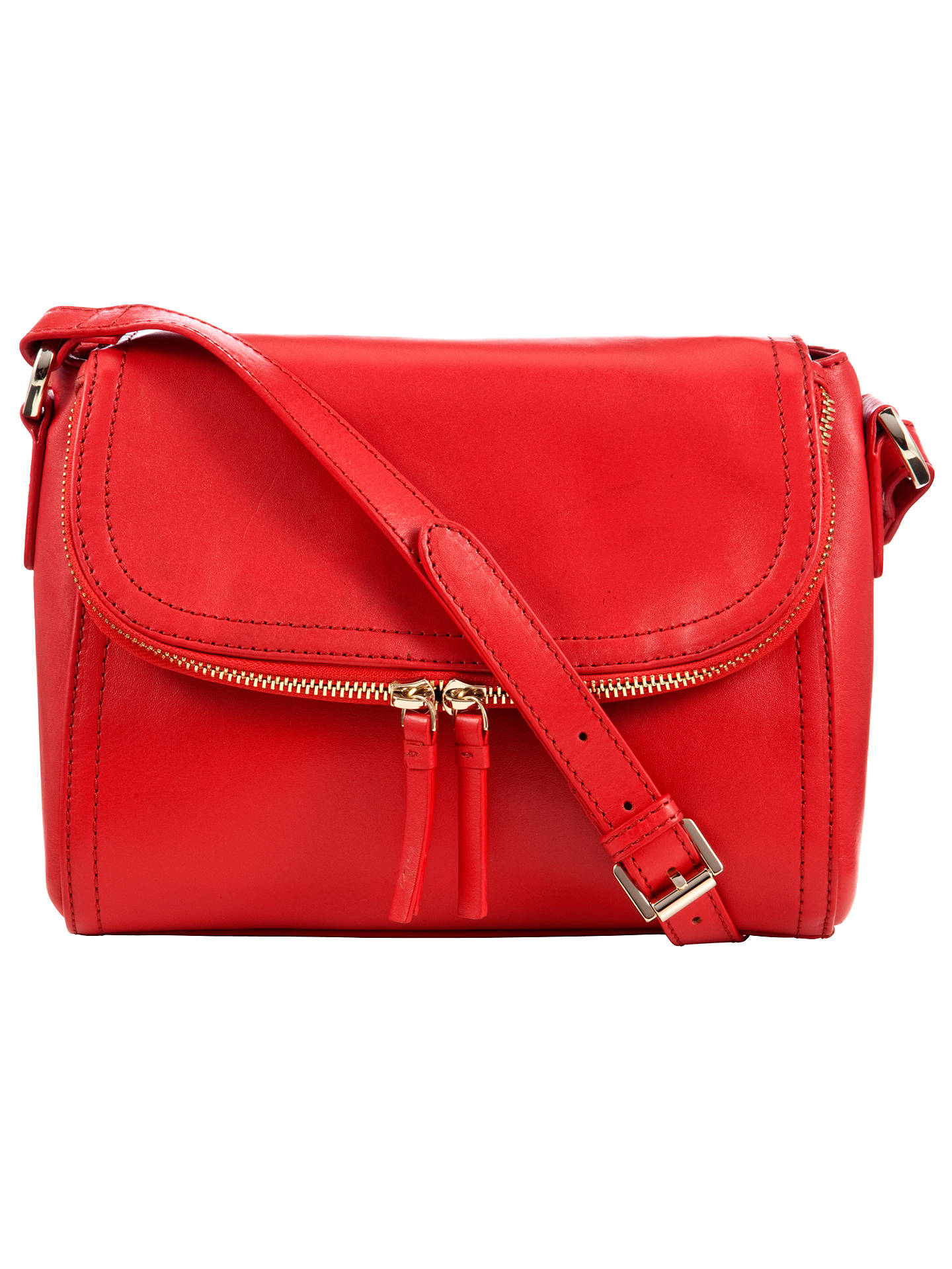 Collection By John Lewis Hayley Leather Across Body Bag Bright Red Online At Johnlewis