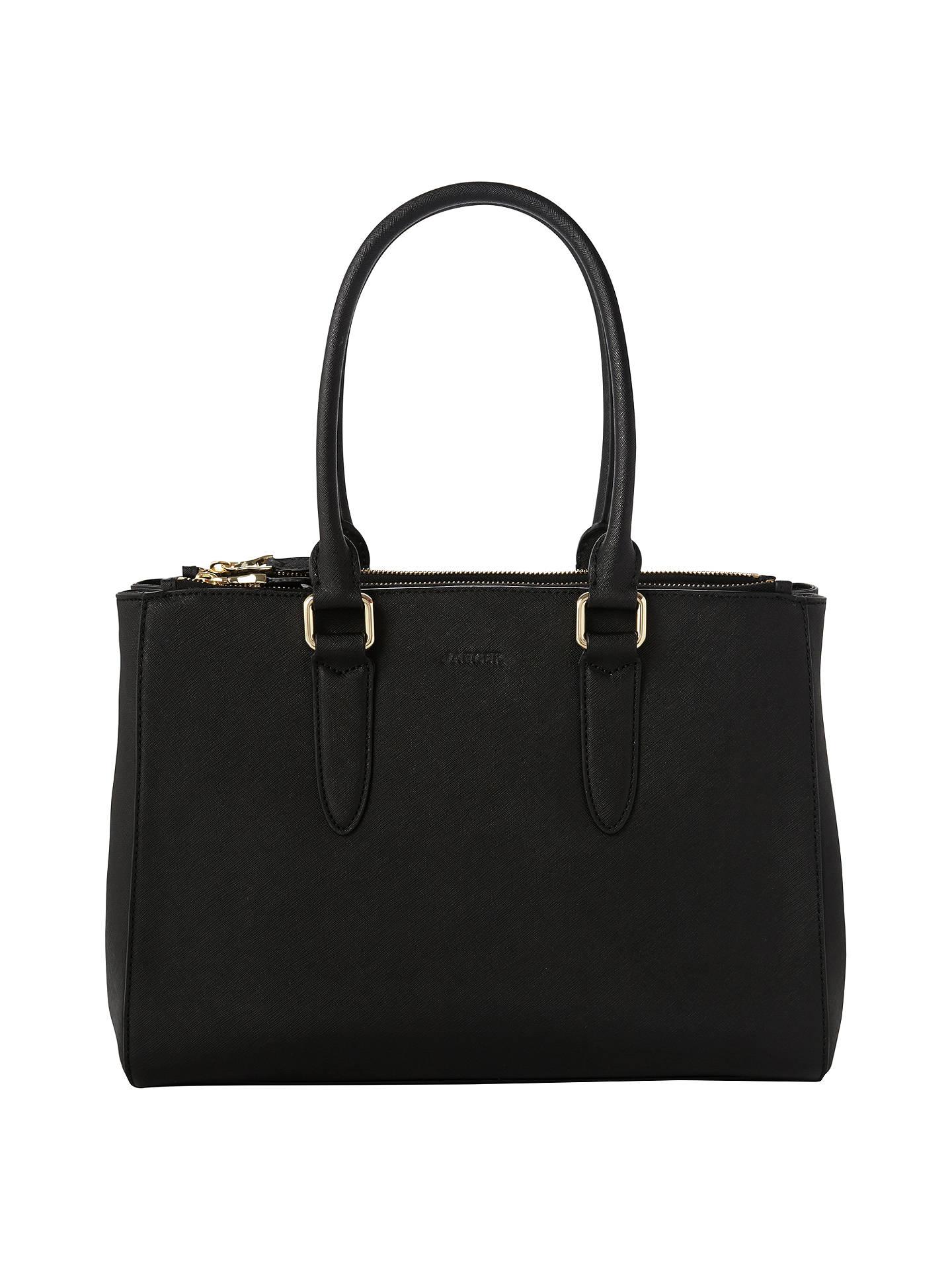 Jaeger Marshall Leather Tote Bag Black Online At Johnlewis