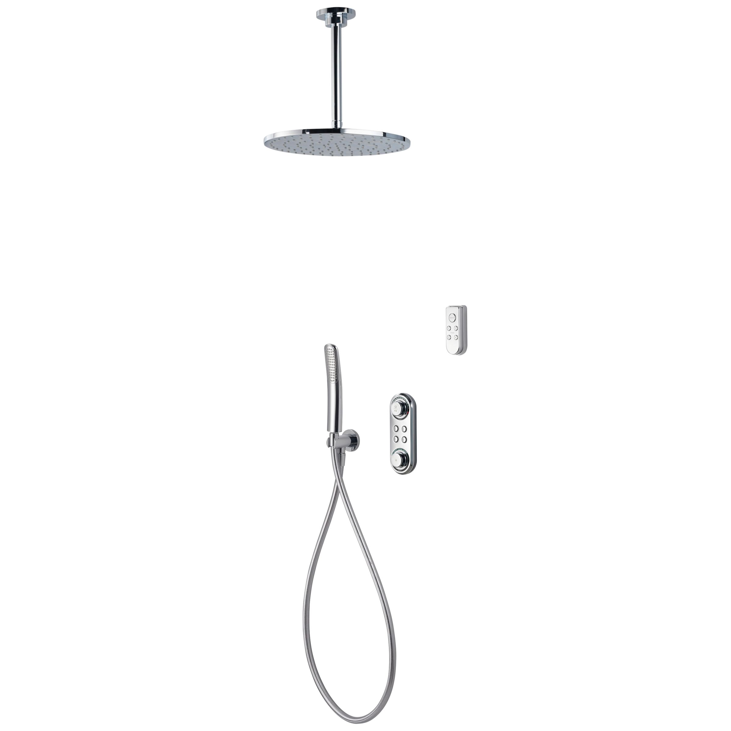 Aqualisa Ilux Xt Digital Concealed Gravity Pumped Shower With Ceiling Fixed Head Diverter And Handshower
