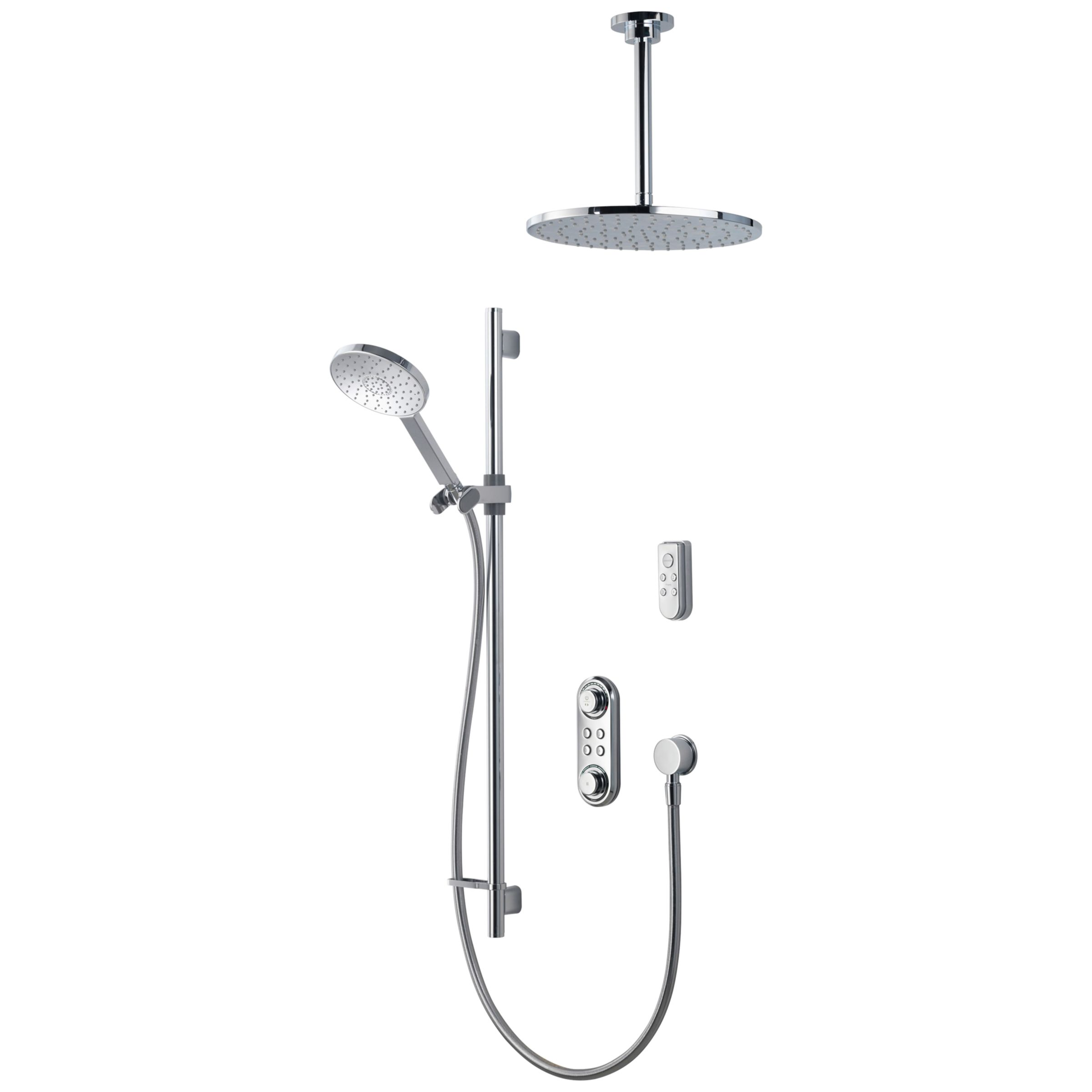 Aqualisa Ilux Xt Digital Concealed Gravity Pumped Shower With Adjustable Head Diverter And Ceiling Fixed Head