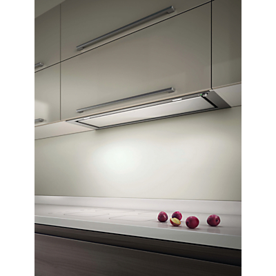 Elica Hidden 60 Built-In Cooker Hood, Stainless Steel/ White Glass
