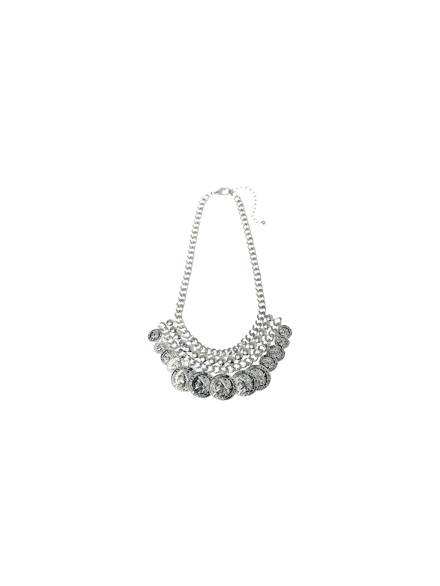 Buy Adele Marie Worn Silver Coin Charm Statement Necklace, Silver Online at johnlewis.com