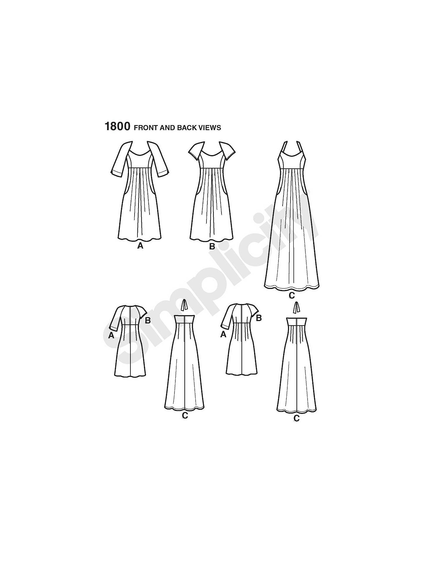 Simplicity Amazing Fit Pattern 1800 Womens Dress in 2 Lengths with Individual Pattern Pieces Sizes 20W-28W