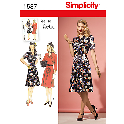 1940s Fabrics and Colors in Fashion Simplicity 1940s Retro Dresses Dressmaking Leaflet 1587 £8.95 AT vintagedancer.com