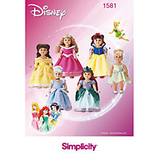 Buy Simplicity Disney Princess Doll's Clothes Sewing Pattern, 1581 Online at johnlewis.com