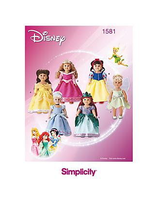 Simplicity Disney Princess Doll's Clothes Sewing Pattern, 1581