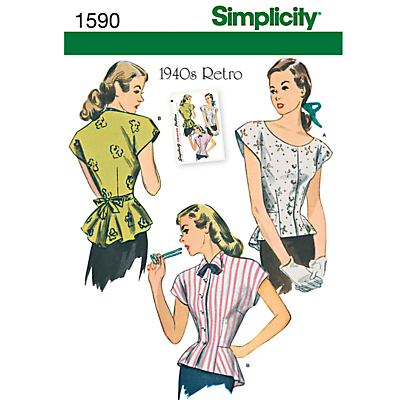 Product photo of Simplicity tops dressmaking leaflet 1590