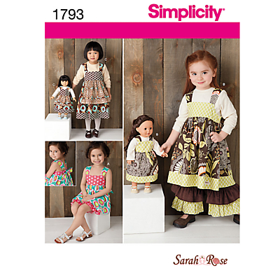 Product photo of Simplicity child s dress set 18 doll dress sewing leaflet 1793 a