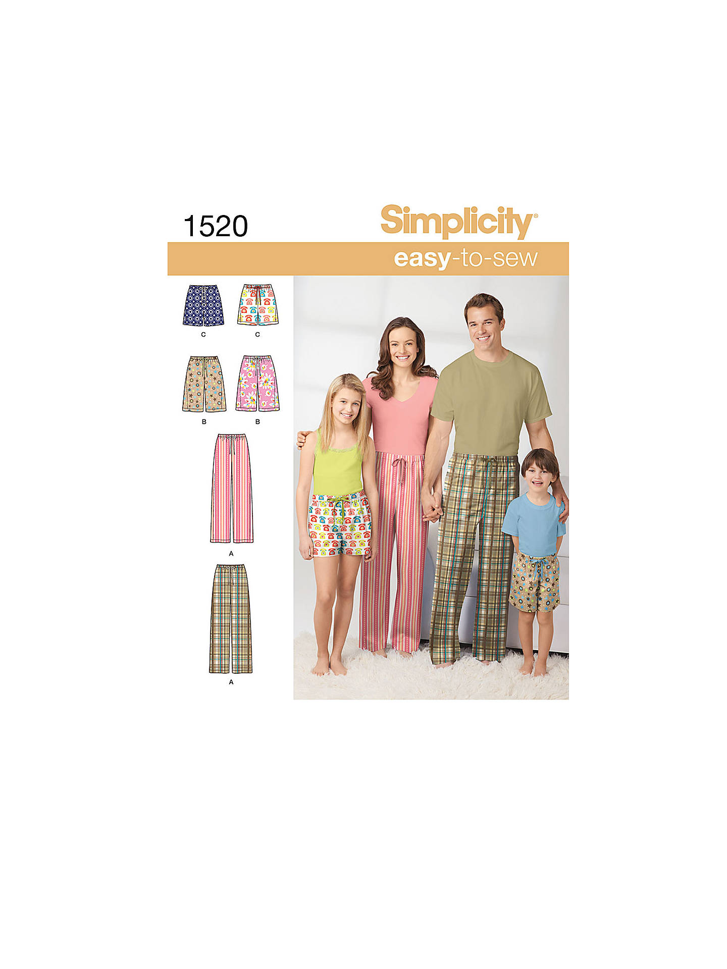 Simplicity Easy-to-Sew Unisex Sewing Pattern, 1520, A