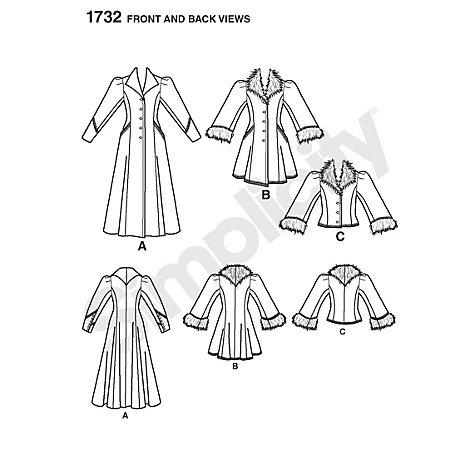 SIMPLICITY 1732 VICTORIAN STEAMPUNK WINTER LONG COAT