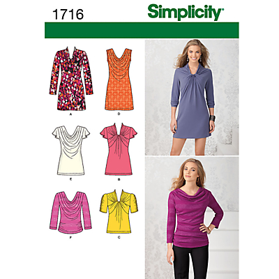 Product photo of Simplicity tops dressmaking leaflet 1716