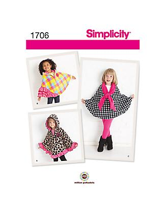 Simplicity Child's Fleece Capes Sewing Pattern, 1706, A