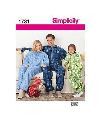 Simplicity Fleece Jumpsuit Sewing Pattern, 1731, A