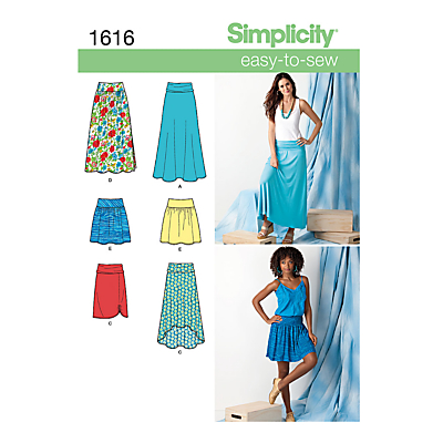 Image of Simplicity Easy to Sew Womens' Skirts Sewing Pattern, 1616