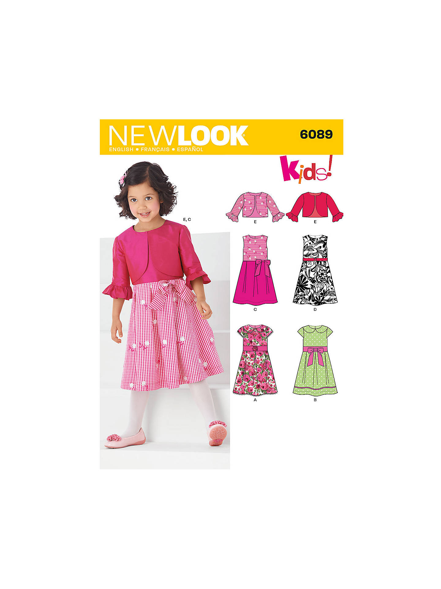 New Look Children\'s Dresses & Jackets Sewing Patterns, 6089 at John ...