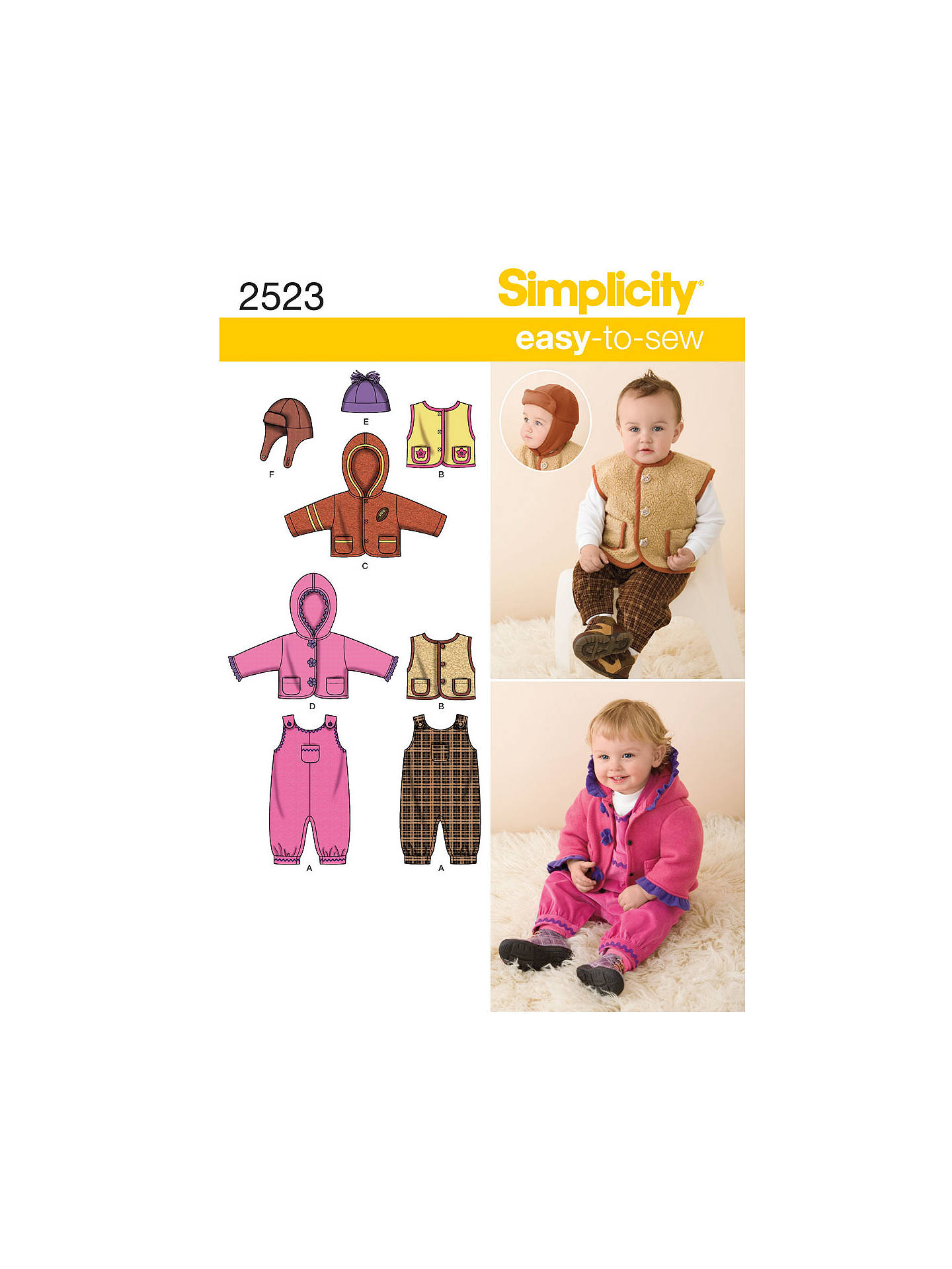 2d6e3178fff Buy Simplicity Babies  Outerwear Sewing Pattern