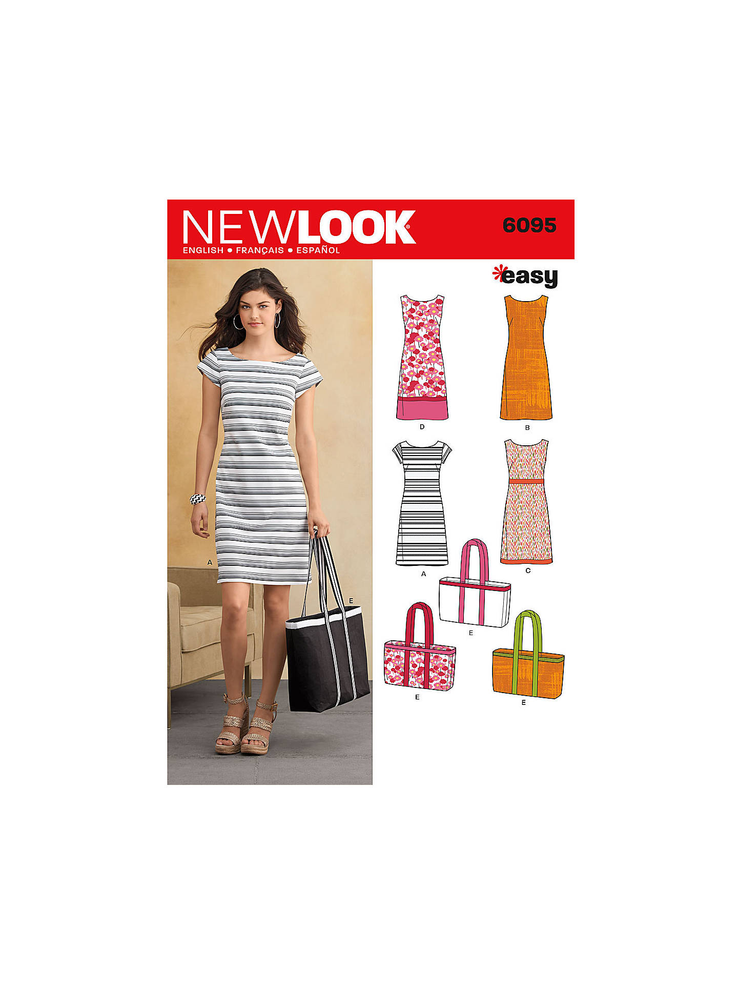 New Look Women\'s Dresses & Bags Sewing Patterns, 6095 at John Lewis ...