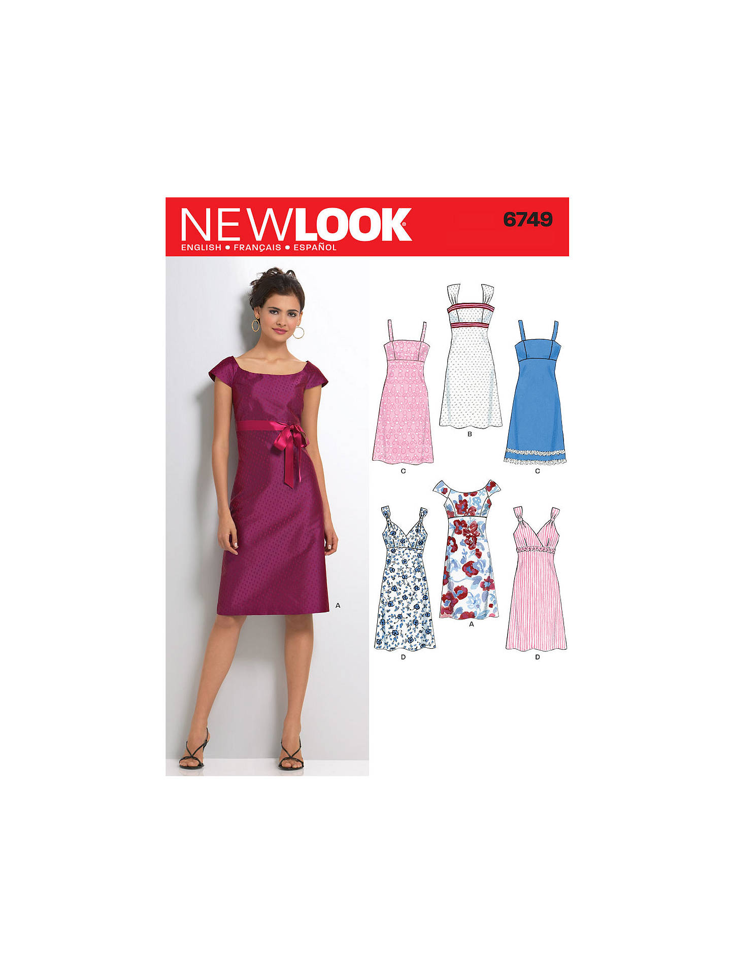 New Look Women\'s Dresses Sewing Patterns, 6749 at John Lewis & Partners