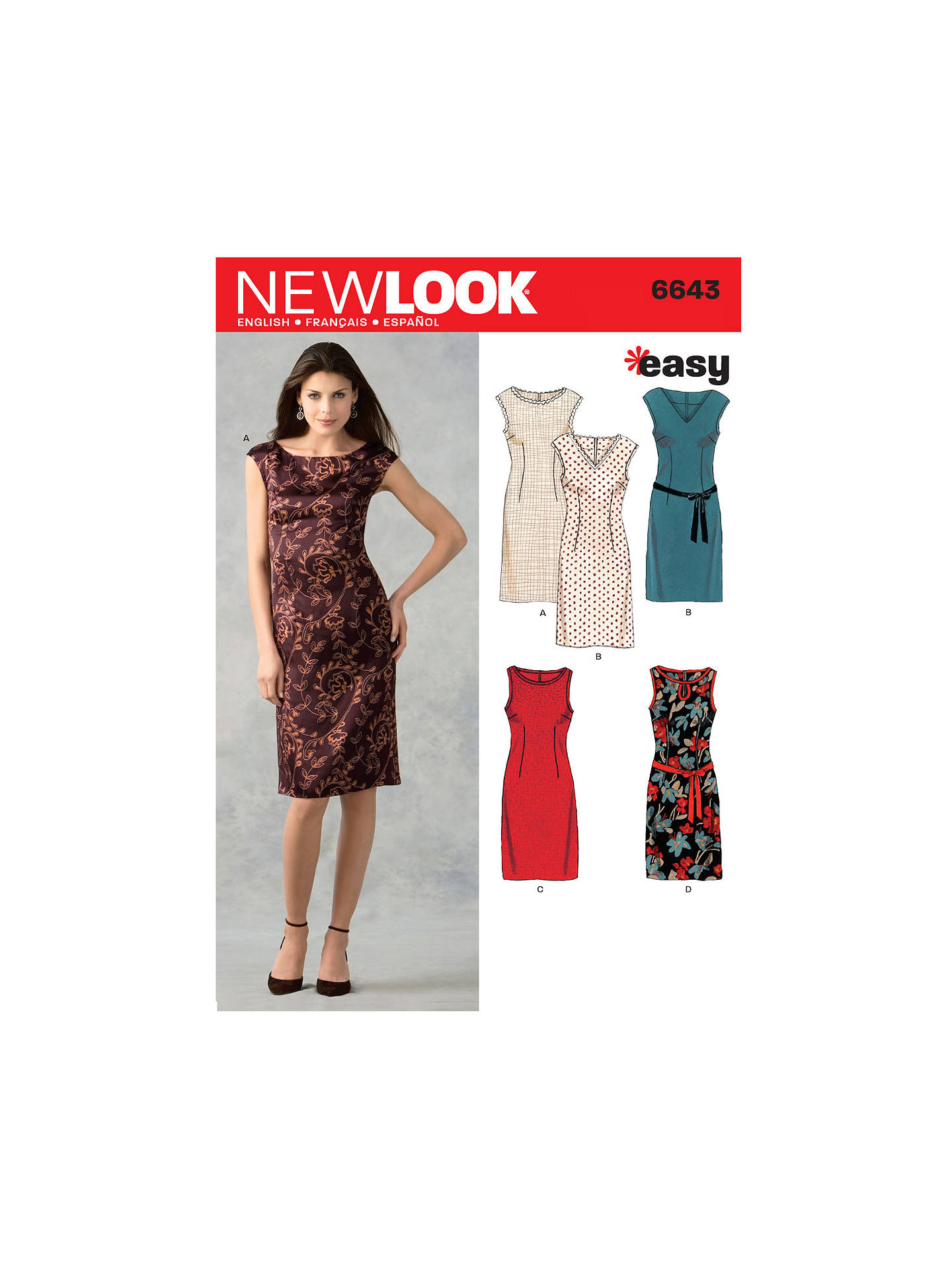 New Look Women\'s Dresses Sewing Patterns, 6643 at John Lewis & Partners