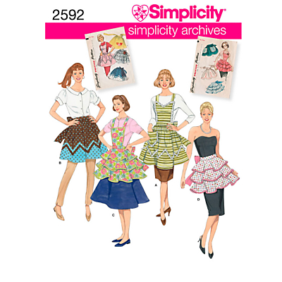 Image of Siimplicity Women's Retro Aprons Sewing Pattern, 2592, A