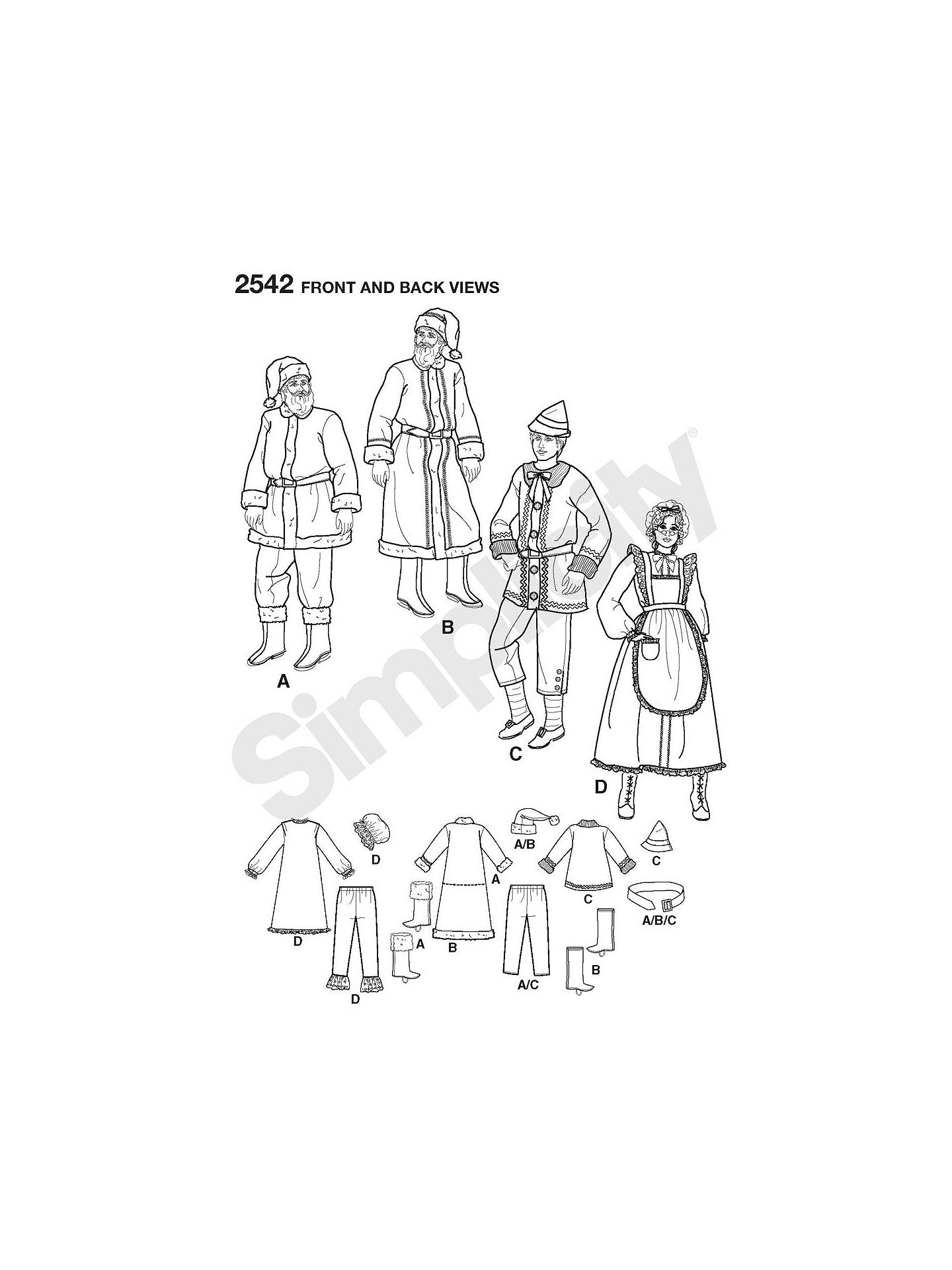 Buy Simplicity Christmas Costume Sewing Pattern, 2542, AA Online at johnlewis.com